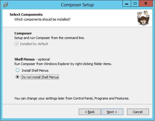 Aqui o instalador nos da a opção de adicionarmos o Composer ao menu de contexto (botão direito do mouse).