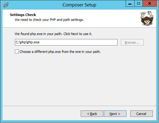 Nessa etapa o instalador verifica onde o PHP está instalado para criar variáveis de ambiente. Se você já criou a variável anteriormente não será feito nenhuma alteração. É possível alterar o diretório do PHP, mas não recomendo.